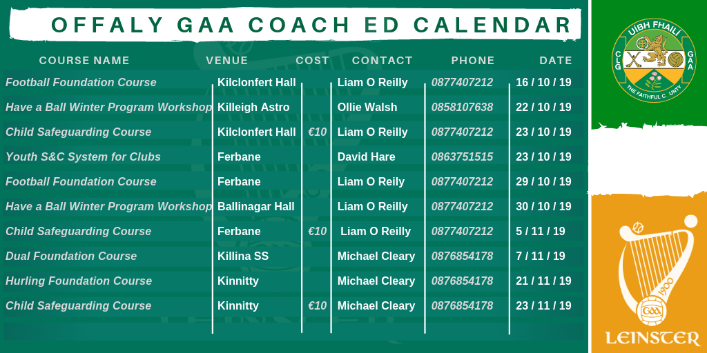 Coaching and Games Coach Education Calendar