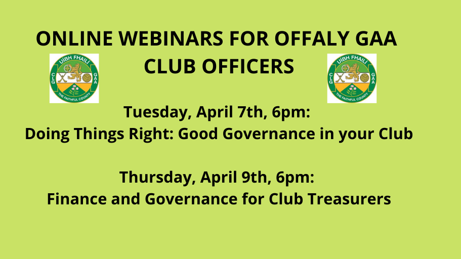 Online Webinars For Offaly GAA Club Officers