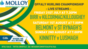 Offaly GAA To Show Three Hurling Games 'Live'